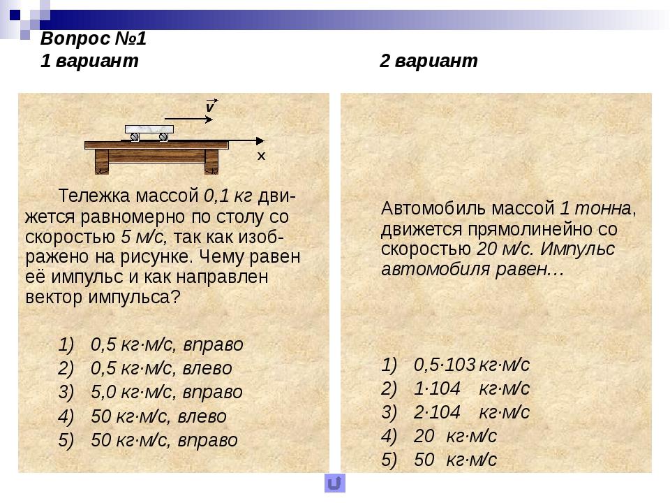 Вопрос №2 1 вариант 2 вариант Материальная точка массой 1 кг двигалась по пр...