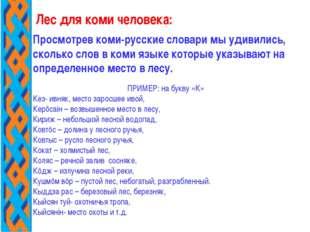 Просмотрев коми-русские словари мы удивились, сколько слов в коми языке котор