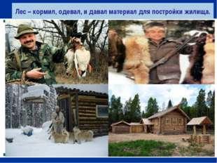 Лес – кормил, одевал, и давал материал для постройки жилища.