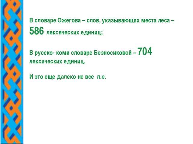 В словаре Ожегова – слов, указывающих места леса – 586 лексических единиц; В...