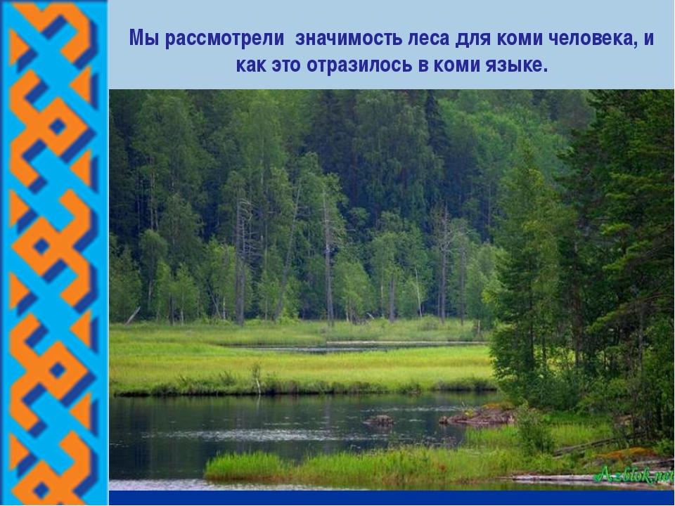 Мы рассмотрели значимость леса для коми человека, и как это отразилось в коми...