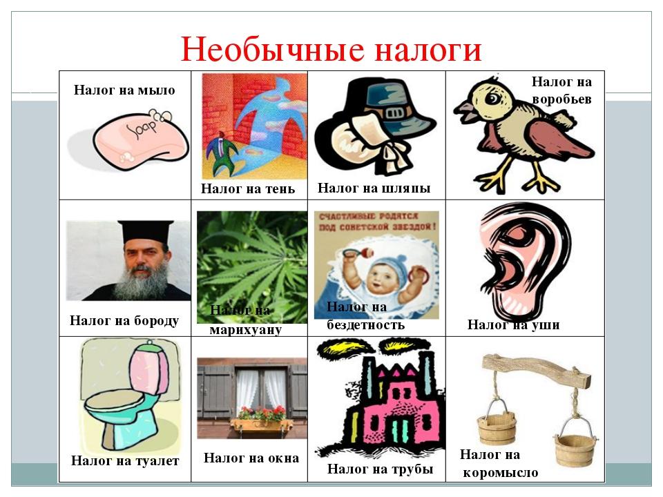 Необычные налоги Налог на мыло Налог на тень Налог на шляпы Налог на бороду Н...