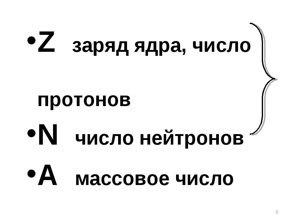 Z заряд ядра, число протонов N число нейтронов A массовое число *