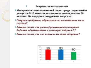 Результаты исследования Мы провели социологический опрос среди родителей и уч