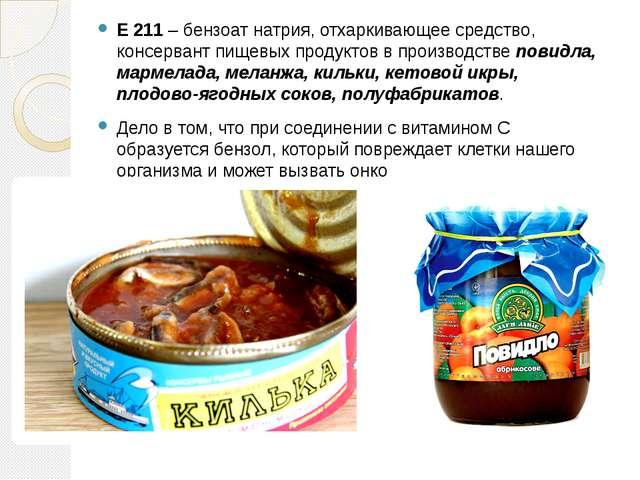 Е 211– бензоат натрия, отхаркивающее средство, консервант пищевых продуктов...