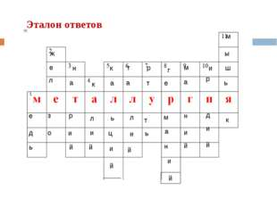 Эталон ответов е д ь ж е л з о н а р и й к л и й к а ь ц и й т а л и й м а н
