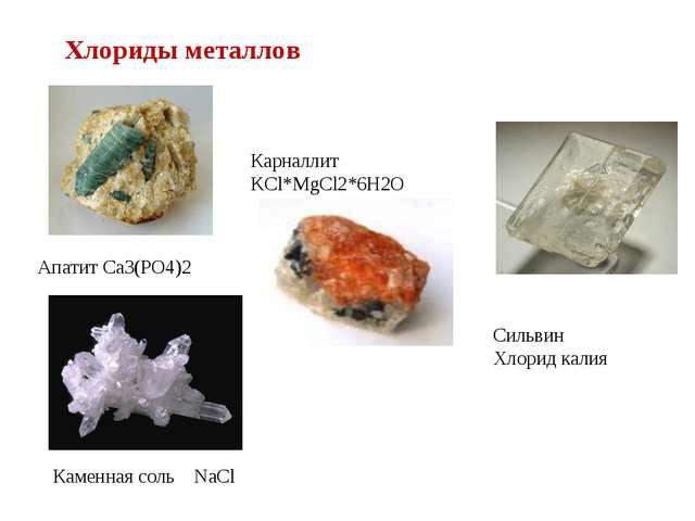 Каменная соль NaCl Карналлит KCl*MgCl2*6H2O Апатит Ca3(PO4)2 Сильвин Хлорид к...