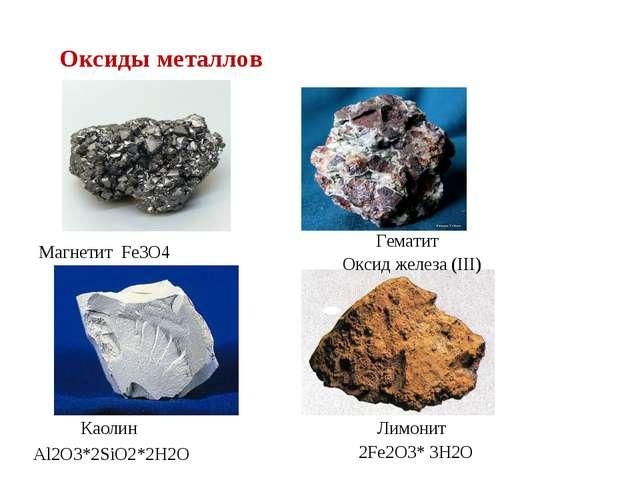 Магнетит Fe3O4 Лимонит 2Fe2O3* 3H2O Гематит Оксид железа (III) Каолин Al2O3*2...