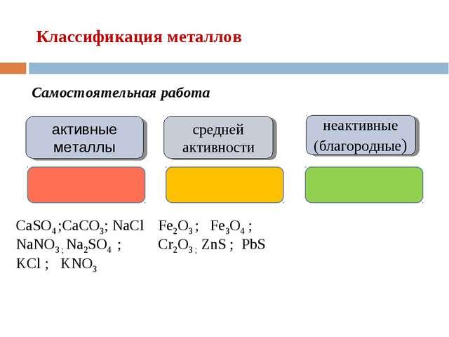 Классификация металлов активные металлы неактивные (благородные) средней акти...