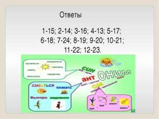 Ответы 1-15; 2-14; 3-16; 4-13; 5-17; 6-18; 7-24; 8-19; 9-20; 10-21; 11-22; 12
