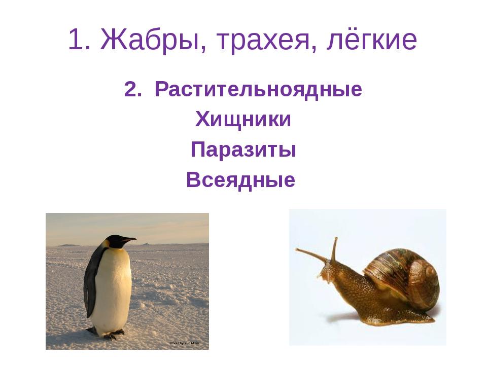 1. Жабры, трахея, лёгкие 2. Растительноядные Хищники Паразиты Всеядные
