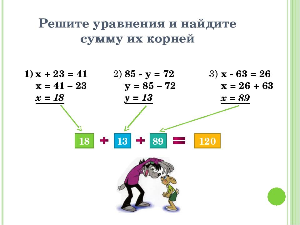 Решите уравнения и найдите сумму их корней х + 23 = 41 х = 41 – 23 х = 18 2)...
