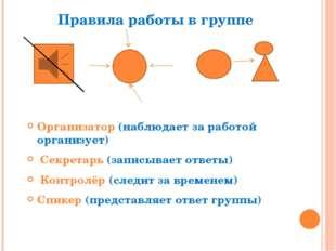 Правила работы в группе Организатор (наблюдает за работой организует) Секрета