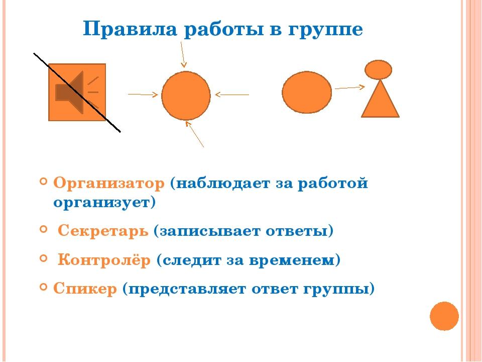 Правила работы в группе Организатор (наблюдает за работой организует) Секрета...