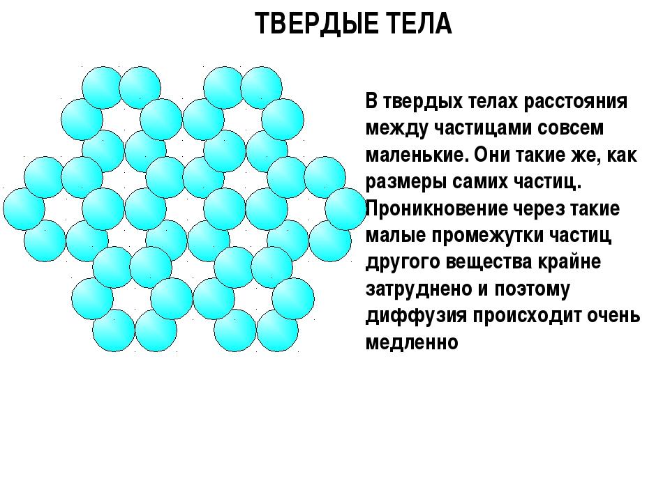 ТВЕРДЫЕ ТЕЛА В твердых телах расстояния между частицами совсем маленькие. Они...