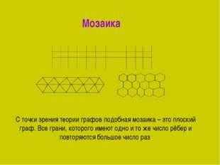 Мозаика С точки зрения теории графов подобная мозаика – это плоский граф. Вс