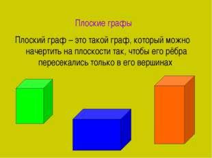 Плоские графы Плоский граф – это такой граф, который можно начертить на плоск