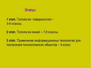 Этапы: 1 этап. Топология поверхностей – 5-6 классы. 2 этап. Топология линий