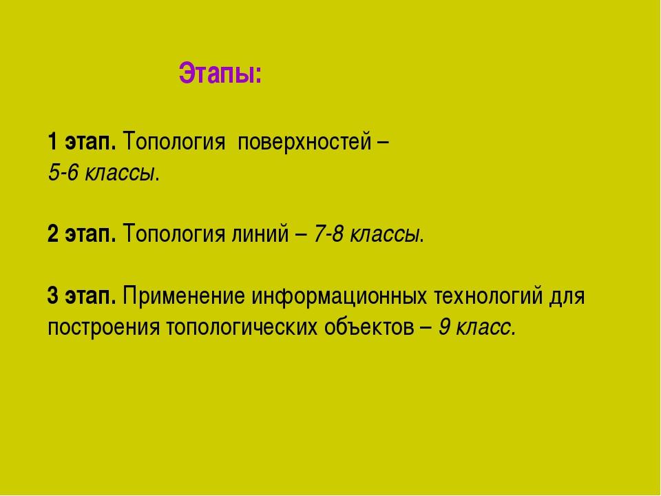 Этапы: 1 этап. Топология поверхностей – 5-6 классы. 2 этап. Топология линий...