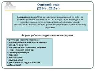 Основной этап (2014 г., 2015 г.) Содержание: разработка методических рекоменд