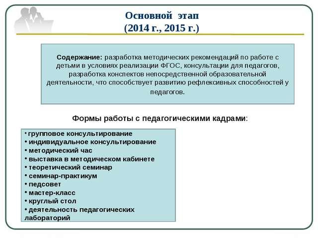 Основной этап (2014 г., 2015 г.) Содержание: разработка методических рекоменд...