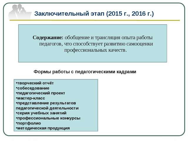 Заключительный этап (2015 г., 2016 г.) Содержание: обобщение и трансляция опы...