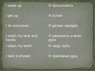 I wake upЯ просыпаюсь I get upЯ встаю I do exercisesЯ делаю зарядку I wash