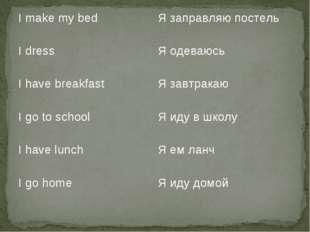 I make my bed Я заправляю постель I dressЯ одеваюсь I have breakfastЯ завт