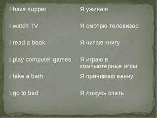 I have supperЯ ужинаю I watch TVЯ смотрю телевизор I read a bookЯ читаю кн