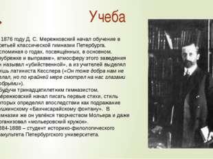 В1876 годуД. С.Мережковский начал обучение в Третьей классической гимназии