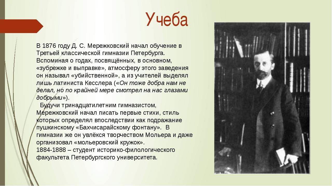 В1876 годуД. С.Мережковский начал обучение в Третьей классической гимназии...