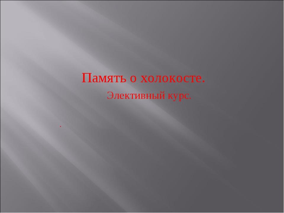 Память о холокосте. Элективный курс. .