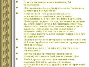План сочинения Вступление (подведение к проблеме, 3-4 предложения) Постановка