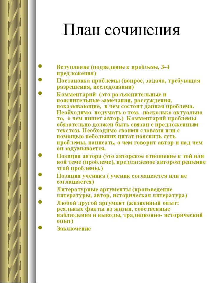 План сочинения Вступление (подведение к проблеме, 3-4 предложения) Постановка...