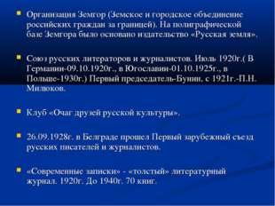 Организация Земгор (Земское и городское объединение российских граждан за гра