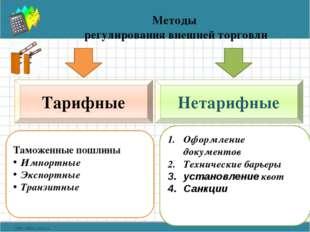 Методы регулирования внешней торговли Тарифные Нетарифные Таможенные пошлины