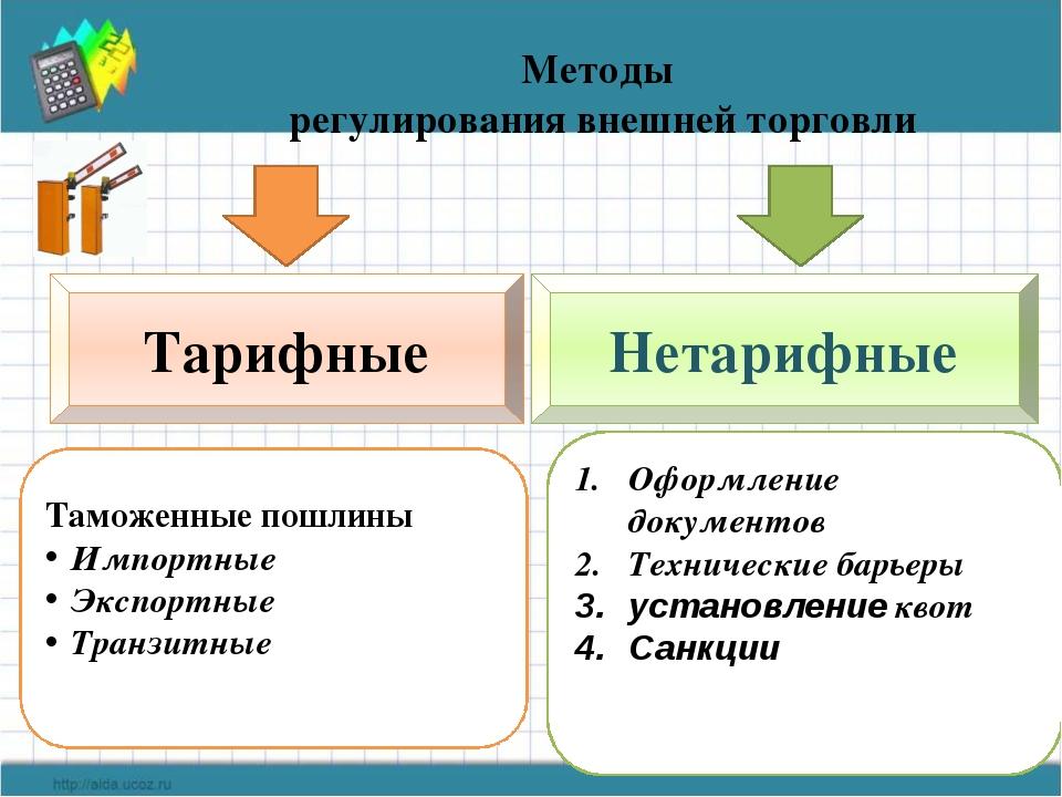 Методы регулирования внешней торговли Тарифные Нетарифные Таможенные пошлины...