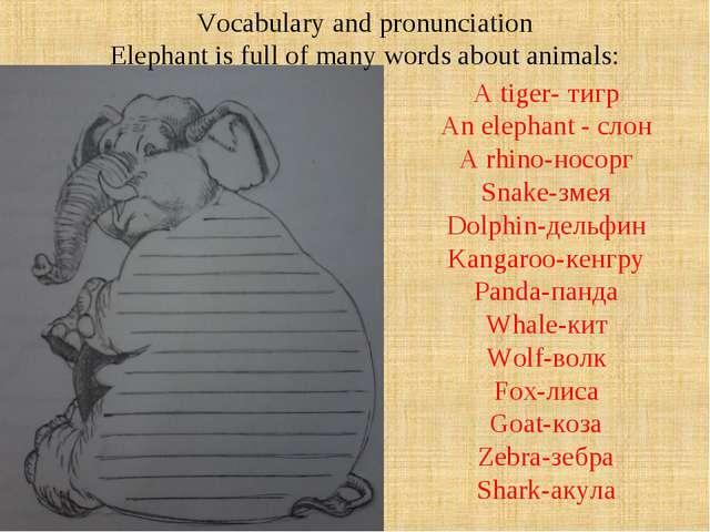 A tiger- тигр An elephant - слон A rhino-носорг Snake-змея Dolphin-дельфин Ka...