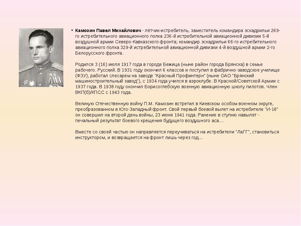 Камозин Павел Михайлович - лётчик-истребитель, заместитель командира эскадрил...