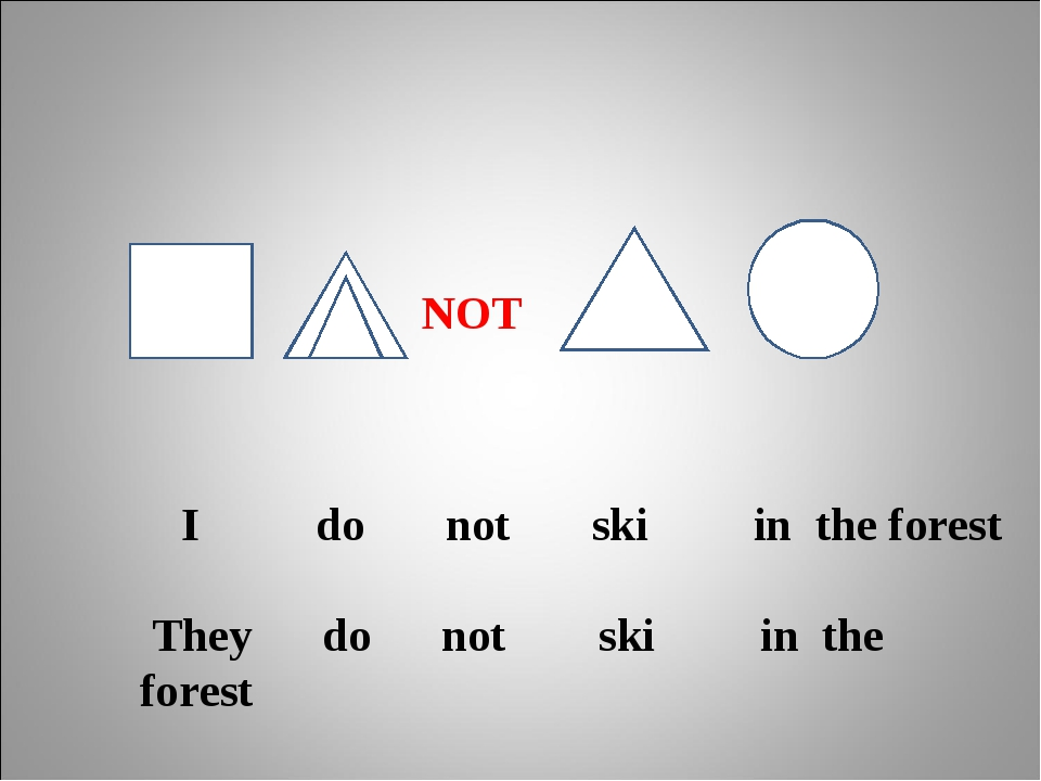 I do not ski in the forest They do not ski in the forest NOT