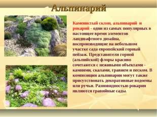 Альпинарий Каменистый склон, альпинарий и рокарий - одни из самых популярных