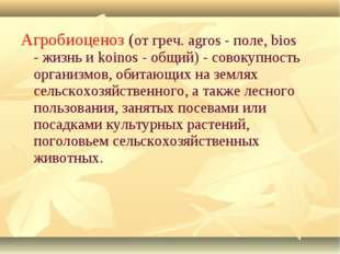 Агробиоценоз (от греч. agros - поле, bios - жизнь и koinos - общий) - совокуп