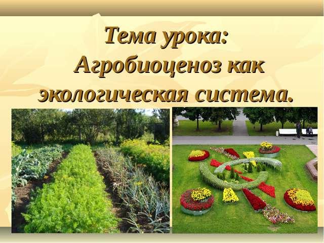 Тема урока: Агробиоценоз как экологическая система.