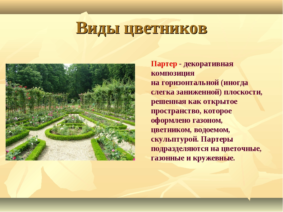Виды цветников Партер - декоративная композиция нагоризонтальной (иногда сле...