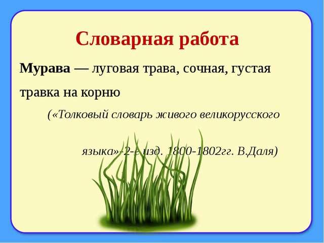 Словарная работа Мурава — луговая трава, сочная, густая травка на корню («Тол...