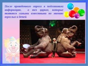 После проведенного опроса я подготовила информацию, о тех цирках, которые явл
