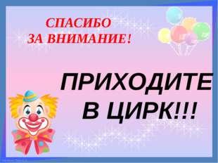 СПАСИБО ЗА ВНИМАНИЕ! ПРИХОДИТЕ В ЦИРК!!! FokinaLida.75@mail.ru