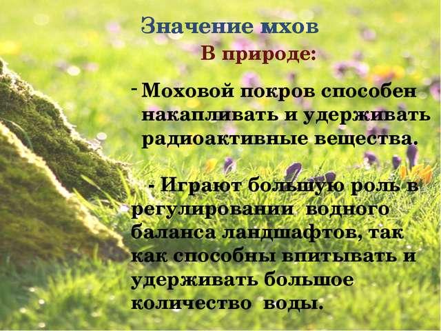 Значение мхов В природе: Моховой покров способен накапливать и удерживать ра...