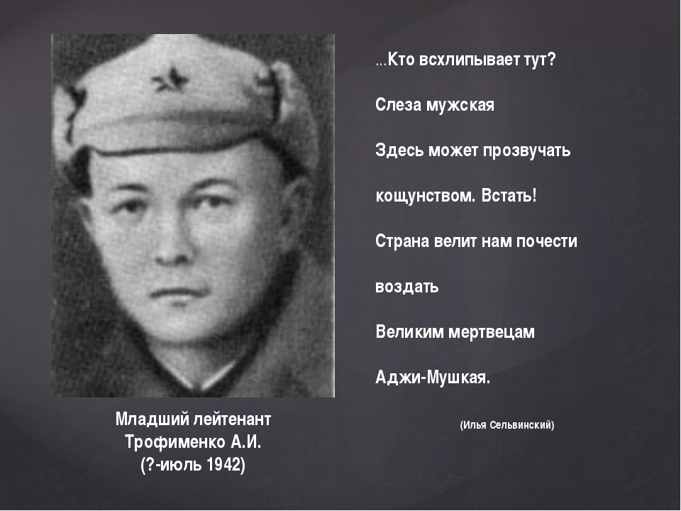Младший лейтенант Трофименко А.И. (?-июль 1942) ...Кто всхлипывает тут? Слеза...