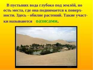 В пустынях вода глубоко под землёй, но есть места, где она поднимается к пов